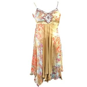 Sue Wong Dress Size 2 Beige Pink Floral Silk Beads